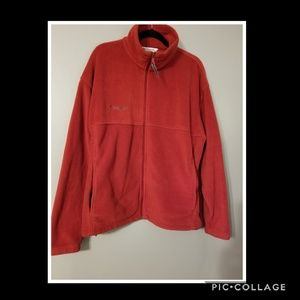 🔮COLUMBIA Red Full Zip Mens Fleece Jacket XL
